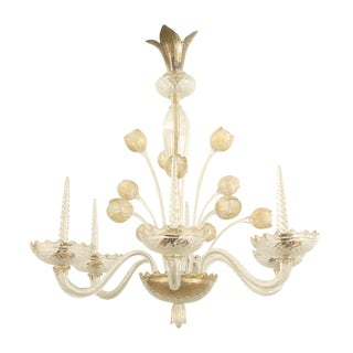 1940s Italian Murano Gold Dusted Chandelier Signed Veronese Seguso For Sale