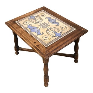 1920s California Mission Tile Top Side Table For Sale