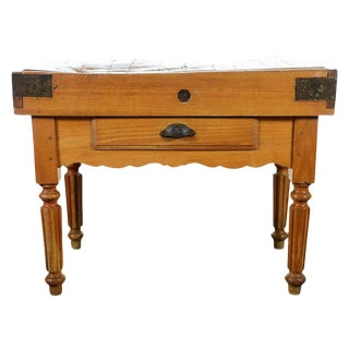 Original 19th Century Butcher Block Table For Sale