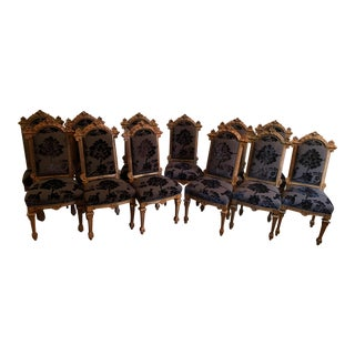 Renaissance Revival Dining Chairs Set of 12 For Sale