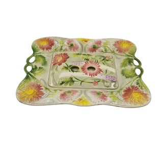 Floral Asparagus Majolica Serving Platter With Drainer