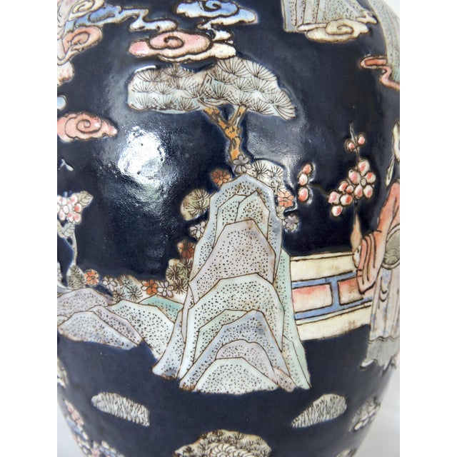 Large Blue Figural Themed Ginger Jar For Sale In Tampa - Image 6 of 9