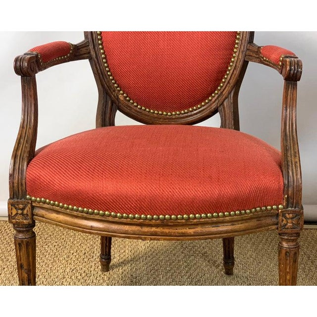 Textile Pair of French Louis XVI Beechwood Fauteuils For Sale - Image 7 of 12