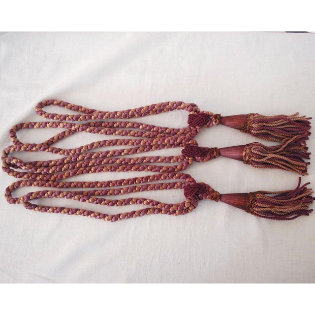Victorian Vintage Silk Drapery Ties With Tassels - Set of 3 For Sale - Image 3 of 7