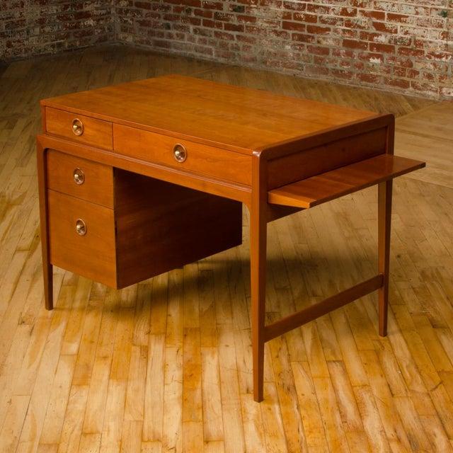 Metal Mid-Century Walnut Desk With Side Extension Designed by John Van Koert for Drexel For Sale - Image 7 of 13