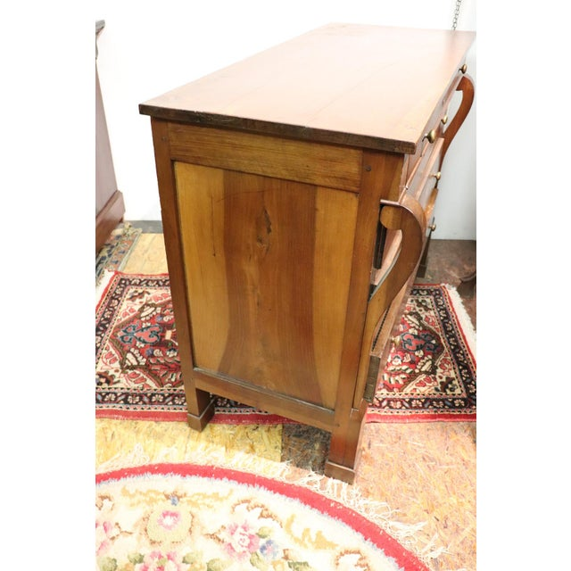 Plywood 19th Century Italian Empire Walnut Commode or Chest of Drawers For Sale - Image 7 of 10