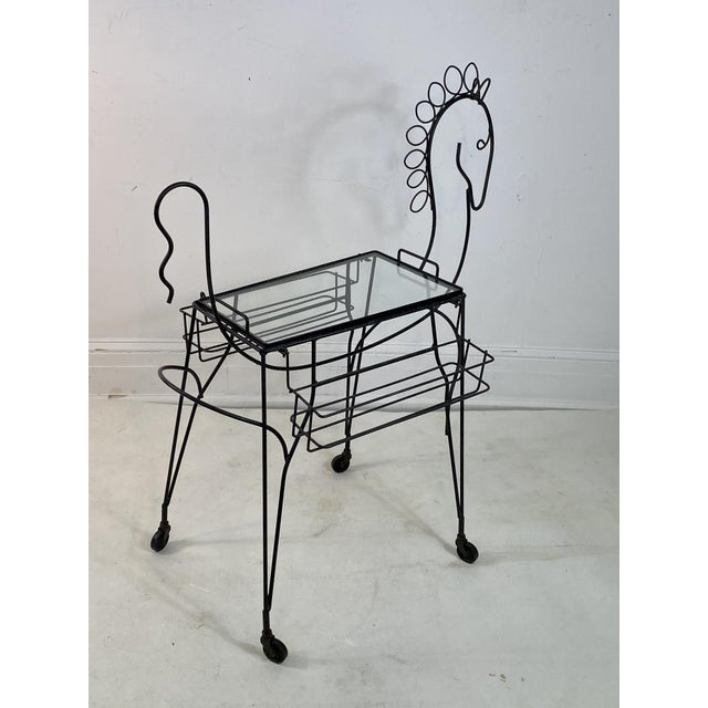 Metal Frederick Weinberg Horse Bar Cart For Sale - Image 7 of 9