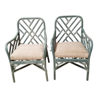 Pale Aqua Chinese Chippendale Rattan Armchairs - a Pair