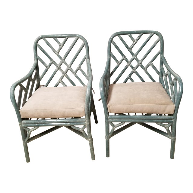 Pale Aqua Chinese Chippendale Rattan Armchairs - a Pair For Sale