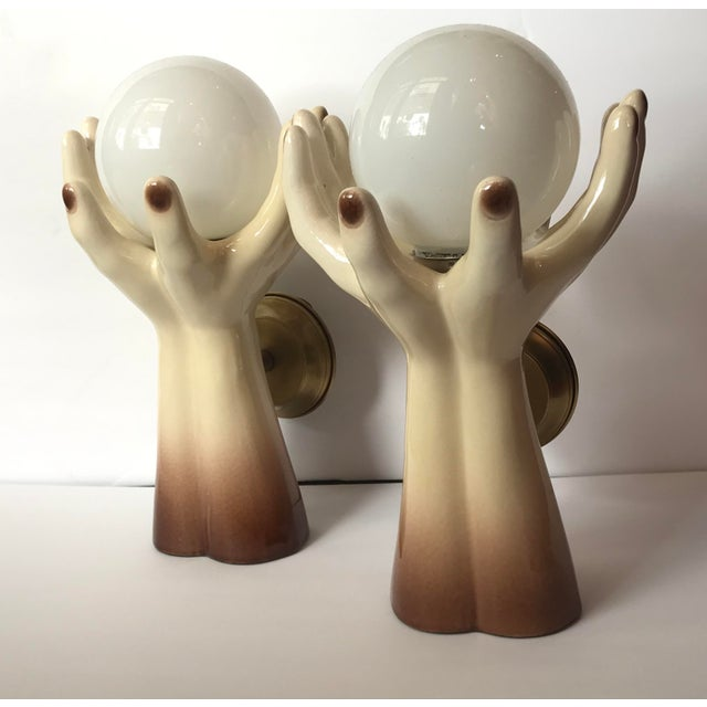 1970s Italian Mid-Century Ceramic Glass Hand Sconces - a Pair Sconce For Sale In Miami - Image 6 of 9