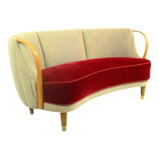 1950s Danish Curved Sofa by n.a. Jørgensen Model Nr 96| Vintage Banana Sofa For Sale