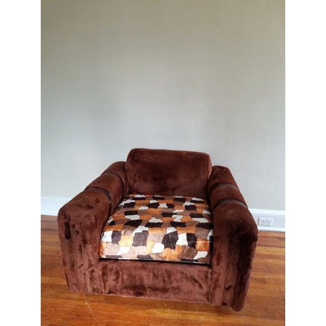 1970s Vintage Brown Fur/Orange Patchwork Pattern Loveseat For Sale - Image 4 of 6