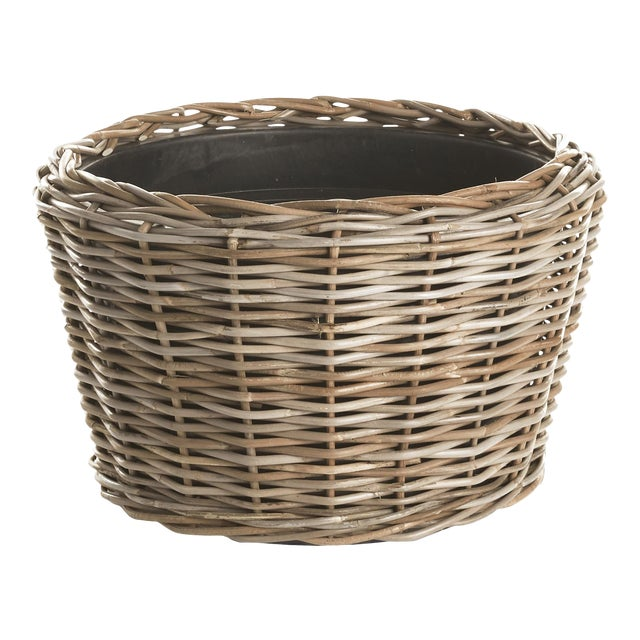 "Woven Dry Basket Planter 21.25"" For Sale"