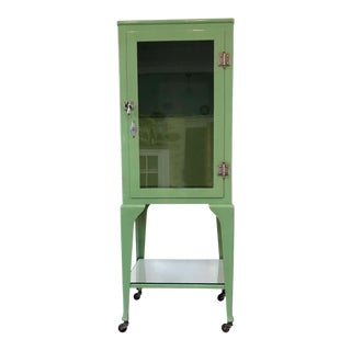 Old Antique Medical Cabinet in Citrus Green, Chrome-Plated Hardware For Sale