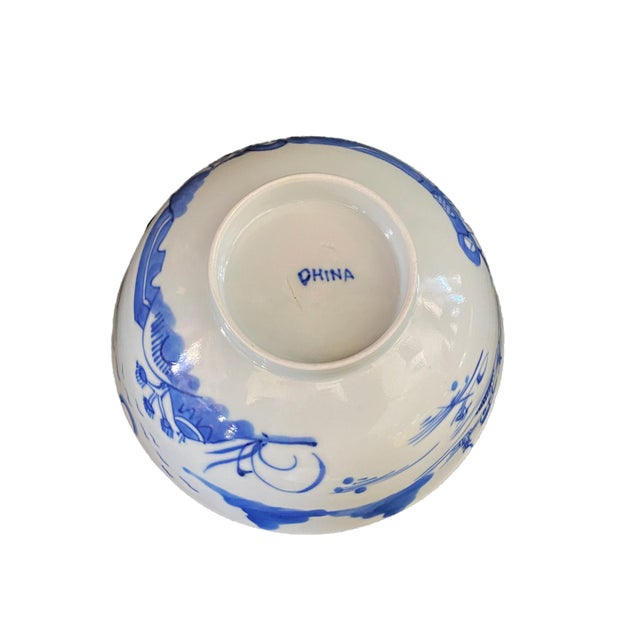 """19th Century Chinese Canton Blue and White Porcelain Pagoda Motif Bowl 6"""" D For Sale - Image 4 of 9"""