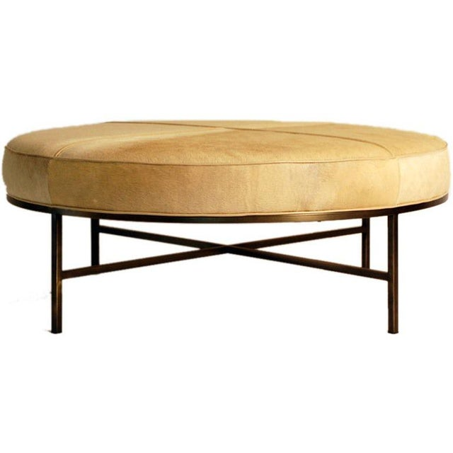 """Contemporary """"Tambour"""" Natural Hide and Brass Ottoman For Sale - Image 9 of 10"""