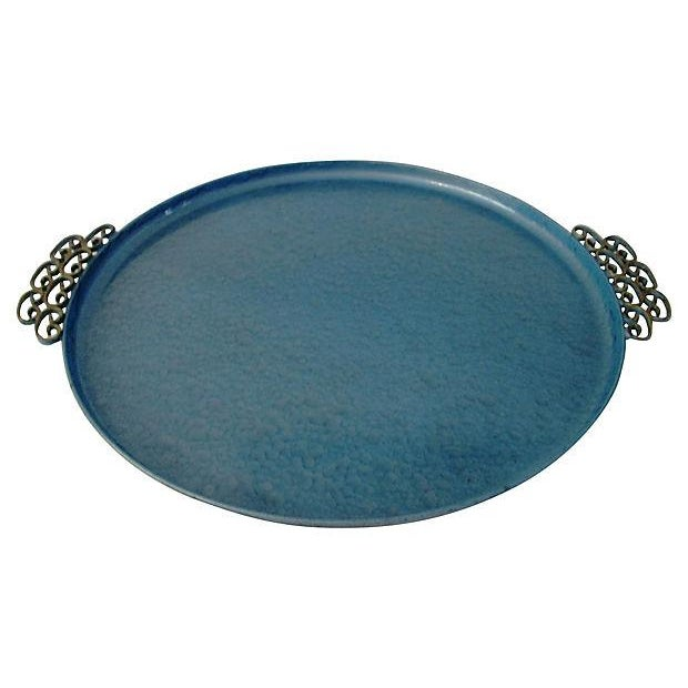 Mid-Century Moiré Glaze Kyes Powder Blue Tray - Image 3 of 4