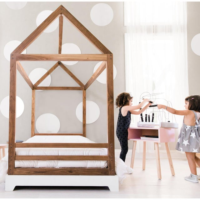 Nico & Yeye Domo Kids Twin Canopy Bed With Rails in Maple For Sale - Image 4 of 5