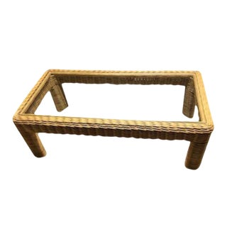 1960s Chippendale Wicker Coffee Table For Sale