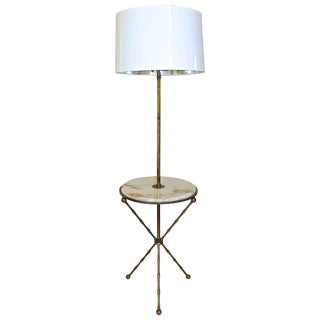 1950s Vintage Bagues Faux Bamboo Tripod Lamp Table For Sale