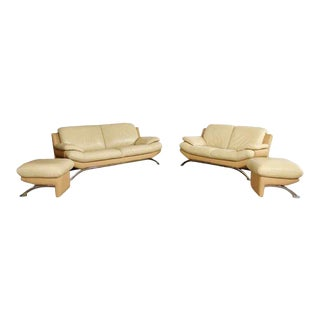 Contemporary Modern Roche Bobois Leather Chrome Sofa & Loveseat Ottoman Set - a Pair For Sale