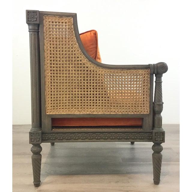 2010s French Style Cane Back Orange Velvet Corner Chair For Sale - Image 5 of 7