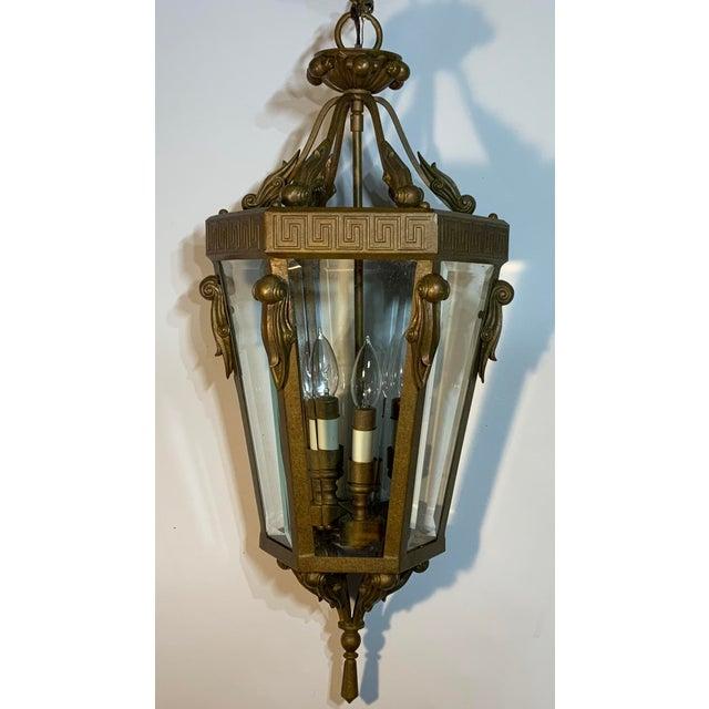 Vintage Six Sided Indoor Hanging Lantern Chandelier For Sale - Image 4 of 13