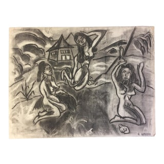 1950's Charcoal 3 Graces Female Nudes Henry Woon For Sale