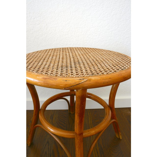 1970s Vintage Rattan and Cane Tables - a Pair For Sale - Image 5 of 10