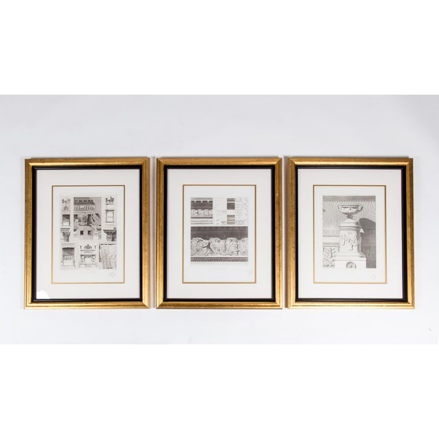 Mid-20th Century Architectural Lithograph With Giltwood Frame - Set of 3 For Sale - Image 13 of 13