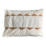 Image of Hand Embroidered White and Gold Pillow With Dawn Filling For Sale