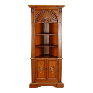 Vintage Carved Wood Corner Bookcase