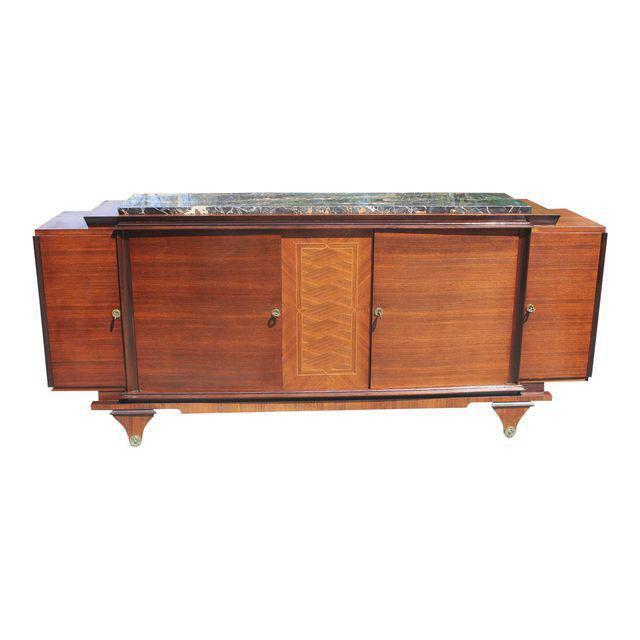 1940s Art Deco Exotic Macassar Ebony Marble Top Sideboard For Sale - Image 12 of 12