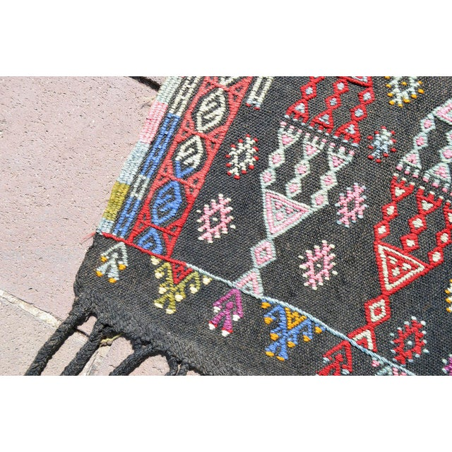 "Handwoven Turkish Kilim Area Rug Colorful Petite Braided Kilim Wall Decor- 3'5"" X 4'9"" For Sale In Raleigh - Image 6 of 8"