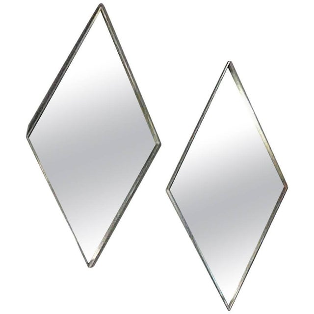 Mid-Century Brushed Metal Mirrors - A Pair - Image 1 of 4