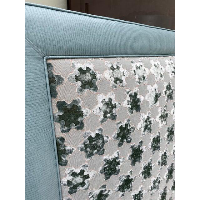 Contemporary Custom Queen Size Platform Upholstered Bed in Mokum Velvet For Sale - Image 3 of 12