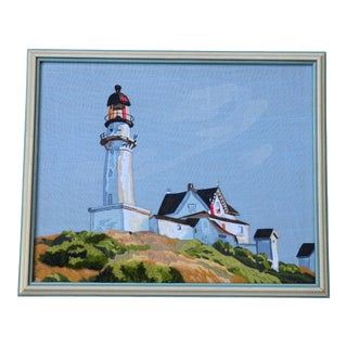 Vintage Lighthouse Embroidery Fiber Art Picture