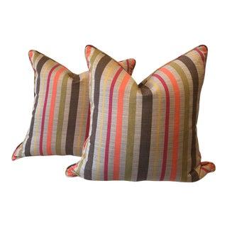 Striped Sunbrella Fabric Pillows - A Pair