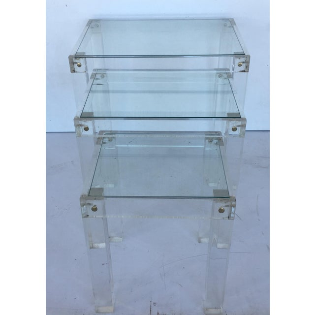 Glass Set of Vintage Lucite and Glass Nesting Tables For Sale - Image 7 of 10