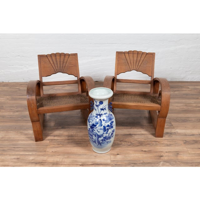 Teak Wood Country Chairs From Madura With Rattan Seats and Looping Arms - a Pair For Sale - Image 11 of 13
