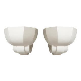 Pair of Plaster Sconces in the French, 1940s Manner For Sale