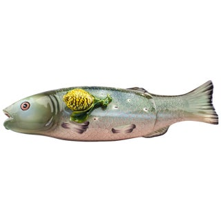 Tiffany & Co Majolica Syle Fish Ceramic Server For Sale