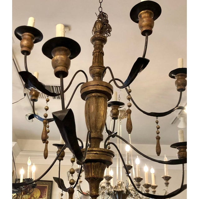 Italian Monumental Ten Light Italian Painted Chandelier With Gold Leaf Tassels For Sale - Image 3 of 4