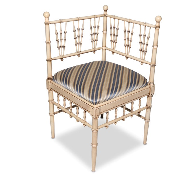 Vintage Faux Bamboo Corner Chair - Image 2 of 3