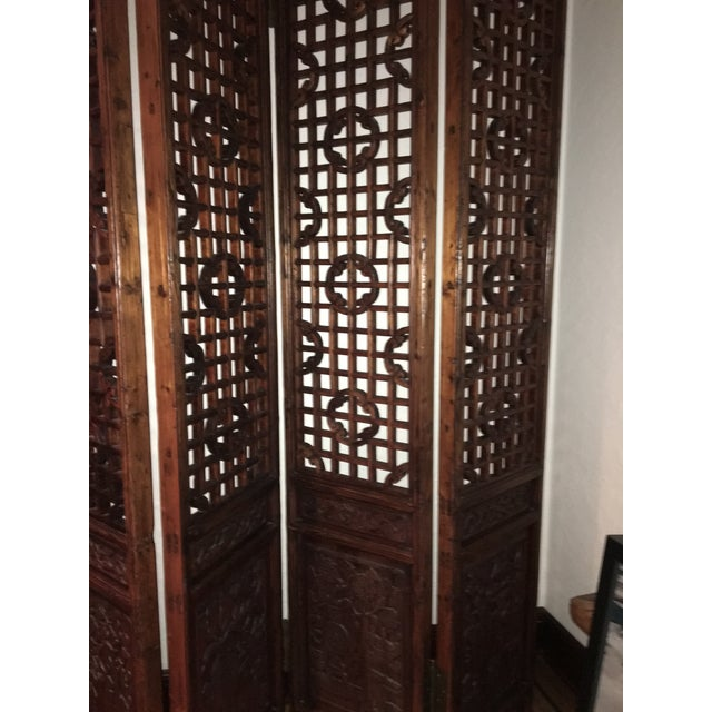 Antique Chinese 4 Panel Screen - Image 4 of 5