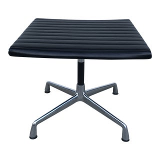 Herman Miller Eames Aluminum Series Ottoman With Black Leather For Sale
