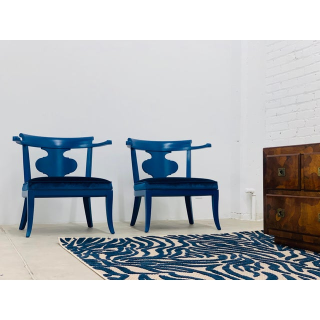 1950s Mid Century Chinoiserie Style Horseshoe Chairs Redefined in Klein Blue - a Pair For Sale - Image 5 of 12