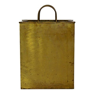 Mid-Century Modern Italian Brass Planter Trash Bin Magazine Holder Stamped For Sale