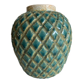 Rustic Earthy Turquoise Pottery Vase For Sale