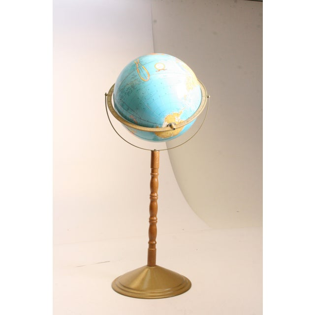 Vintage Revolving World Globe with Wood Pedestal Stand For Sale - Image 5 of 11